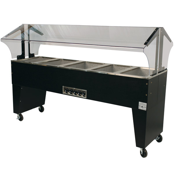 Advance Tabco B5-240-B Open Base Everyday Buffet Stainless Steel Five Pan Electric Hot Food Table - Open Well, 208/240V