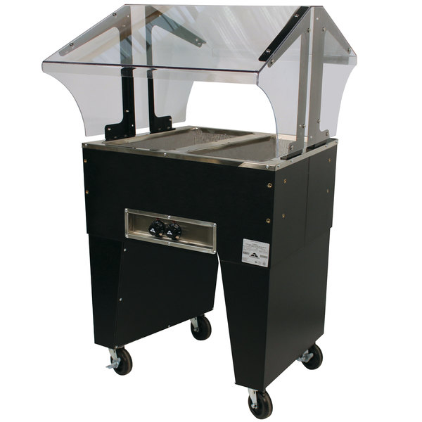 Advance Tabco B2-120-B Open Base Everyday Buffet Stainless Steel Two Pan Electric Hot Food Table - Open Well - 120V