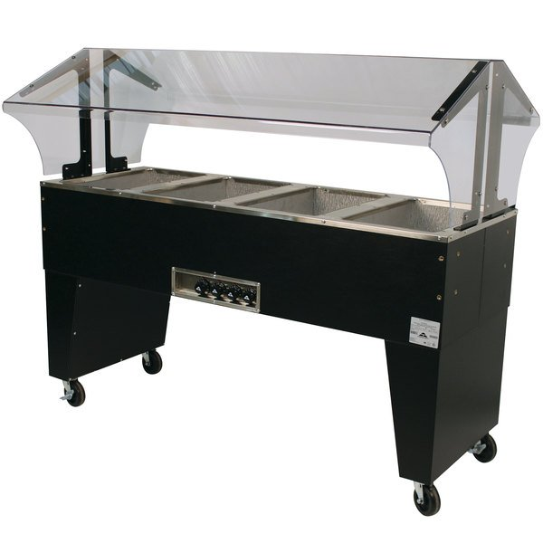 Advance Tabco B4-120-B Open Base Everyday Buffet Stainless Steel Four Pan Electric Hot Food Table - Open Well, 120V