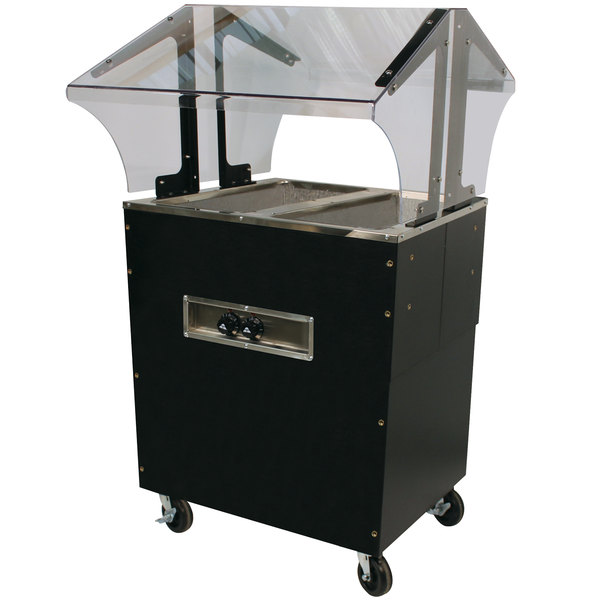 Advance Tabco B2-240-B-SB Enclosed Base Everyday Buffet Stainless Steel Two Pan Electric Hot Food Table - Open Well, 208/240V