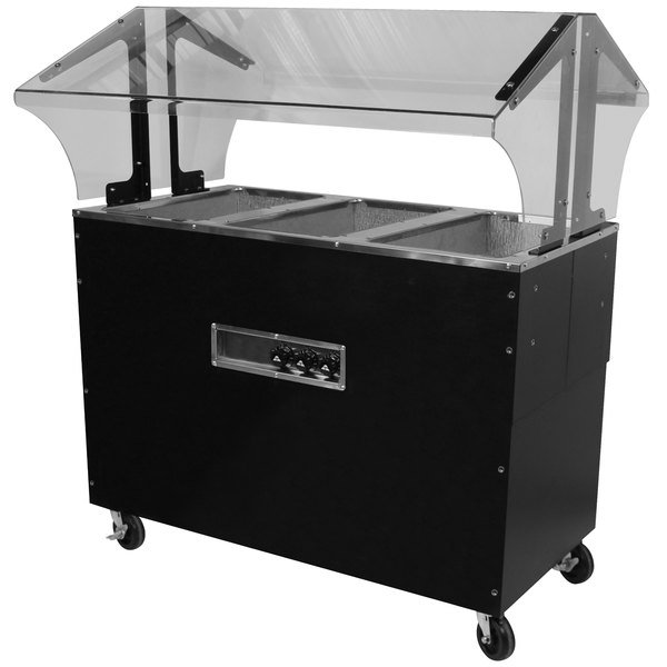 Advance Tabco B3-240-B-SB Enclosed Base Everyday Buffet Stainless Steel Three Pan Electric Hot Food Table - Open Well, 208/240V Main Image 1