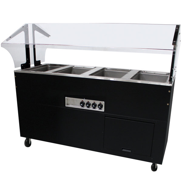 Advance Tabco BSW4-240-B-SB Enclosed Base Everyday Buffet Stainless Steel Four Pan Electric Hot Food Table - Sealed Well, 208/240V Main Image 1