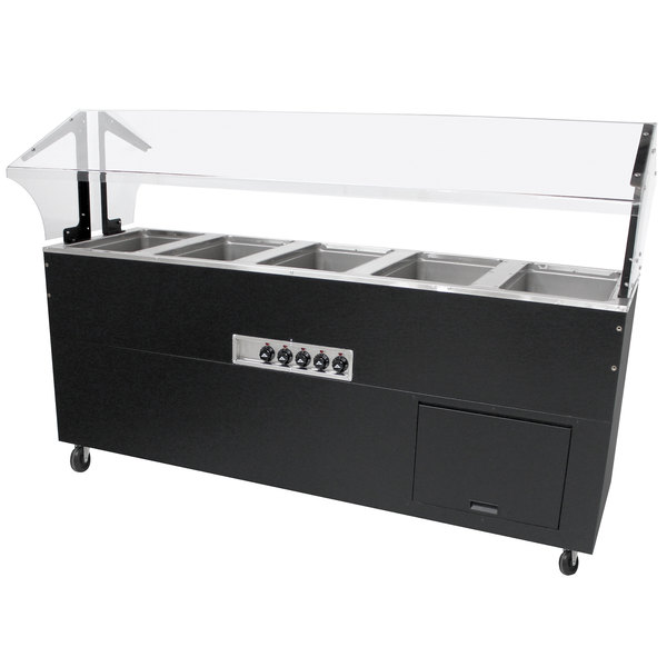 Advance Tabco BSW5-240-B-SB Enclosed Base Everyday Buffet Stainless Steel Five Pan Electric Hot Food Table - Sealed Well, 208/240V Main Image 1