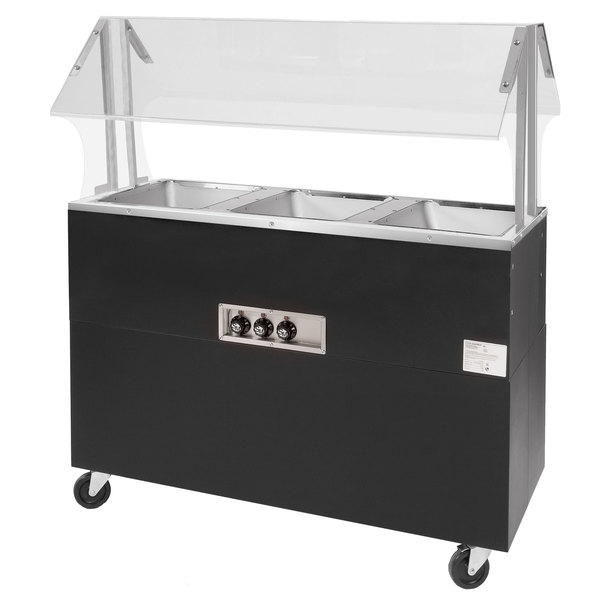 Advance Tabco BSW3-240-B-SB Enclosed Base Everyday Buffet Stainless Steel Three Pan Electric Hot Food Table - Sealed Well, 208/240V