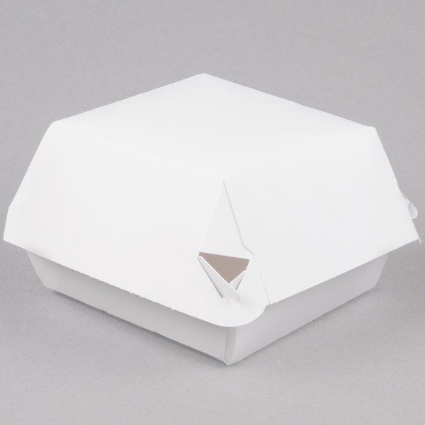 Microwavable Hinged White Paper Take Out Container 4 inch x 4 inch x 3 inch - 500/Case