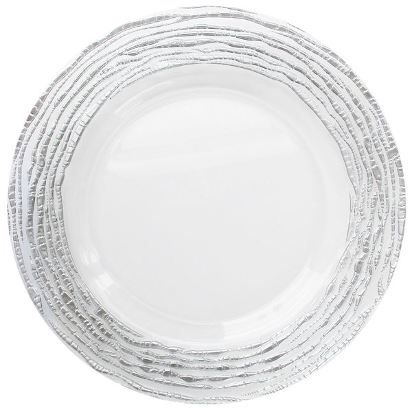 """The Jay Companies 1470321-SL 13"""" Round Arizona Silver/Clear Glass Charger Plate"""