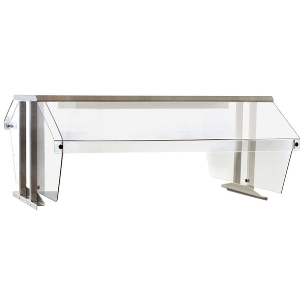 """Eagle Group BS2-HT2 Stainless Steel Buffet Shelf with 2 Sneeze Guards for 2 Well Food Tables - 33"""" x 36"""""""