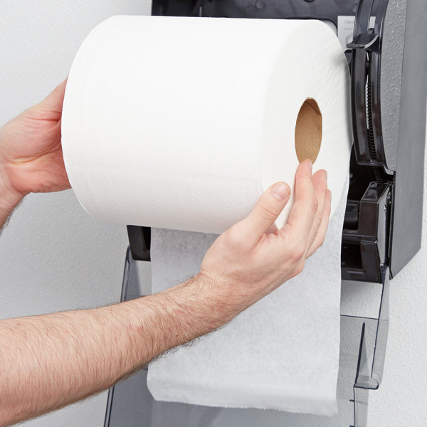 """Lavex Janitorial 8"""" White Aircell (TAD) Premium Paper Towel, 800 Feet / Roll - 6/Case Main Image 3"""
