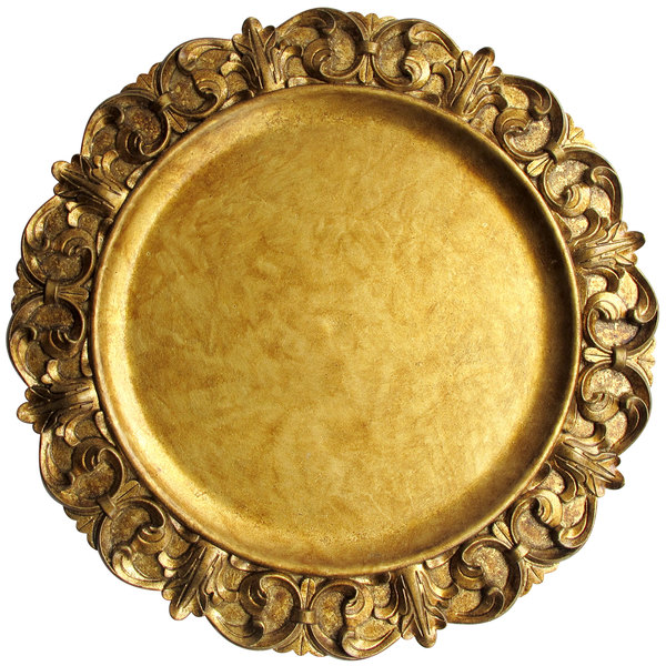 """The Jay Companies 1320391 14"""" Round Emboss Gold Plastic Charger Plate"""