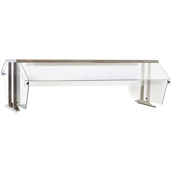 "Eagle Group BS2-HT3 Stainless Steel Buffet Shelf with 2 Sneeze Guards for 3 Well Food Tables - 48"" x 36"""