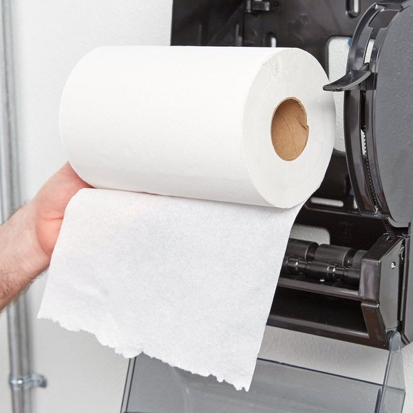 Lavex Janitorial White Hardwound Paper Towel, 350 Feet / Roll - 12/Case Main Image 2