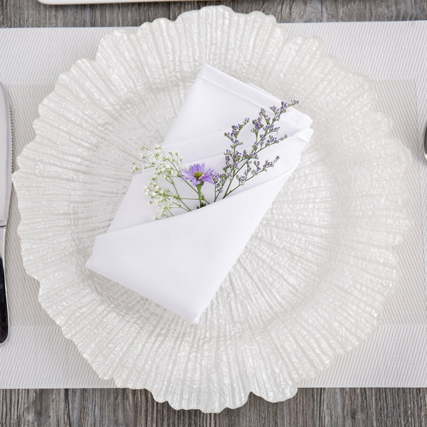 """The Jay Companies 1470110-WH 13"""" Round Reef White Glass Charger Plate"""