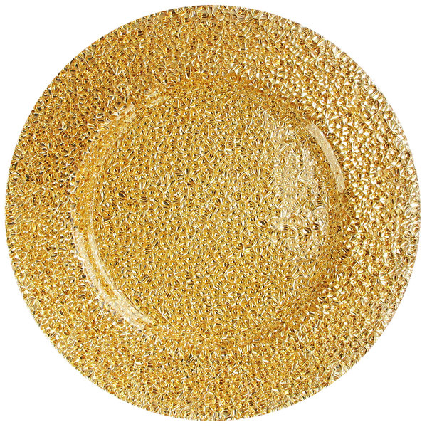 """The Jay Companies 1470342 13"""" Round Glamour Gold Glass Charger Plate"""