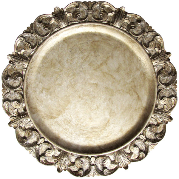 """The Jay Companies 14"""" Round Emboss Silver Polypropylene Charger Plate"""