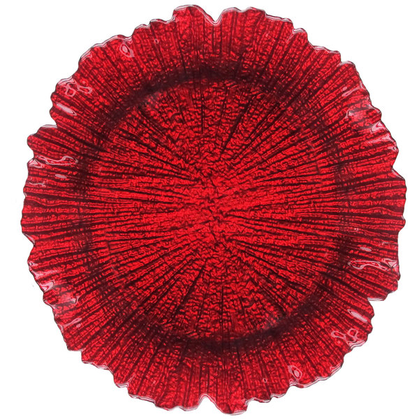 """The Jay Companies 13"""" Round Reef Red Glass Charger Plate"""