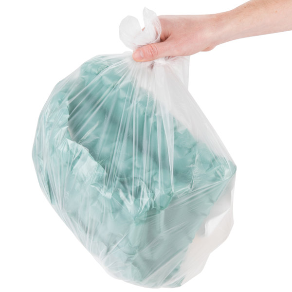 """Inteplast Group S242408N 7-10 Gallon 8 Micron 24"""" x 24"""" High Density Can Liner / Trash Bag - 1000/Case"""