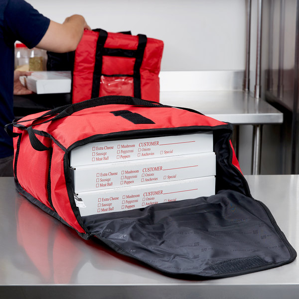 "San Jamar PB17 17"" x 16 1/2"" x 5"" Insulated Red Nylon Pizza Delivery Bag Main Image 9"