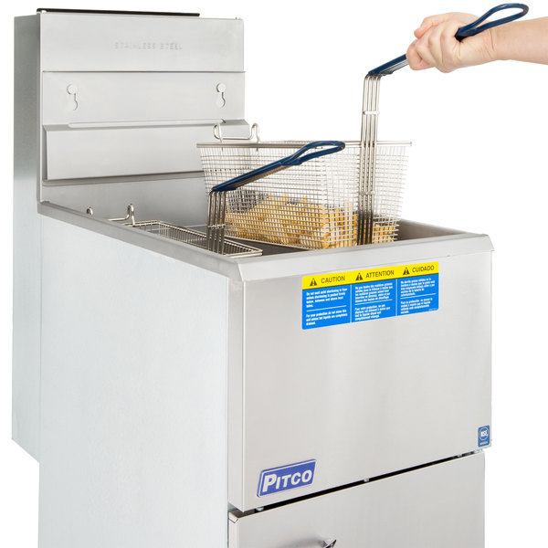 Pitco® 45C+S Natural Gas 42-50 lb. Stainless Steel Floor Fryer Main Image 6