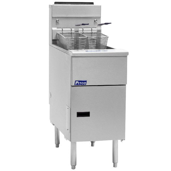 Pitco® SG14-S Natural Gas 40-50 lb. Stainless Steel Floor Fryer - 110,000 BTU