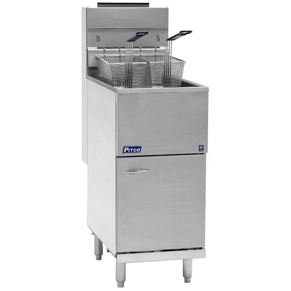 Pitco® 40D Natural Gas 40-45 lb. Stainless Steel Floor Fryer