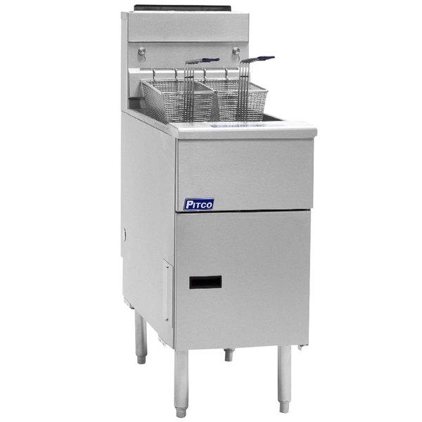 Pitco® SG14-S Liquid Propane 40-50 lb. Stainless Steel Floor Fryer - 110,000 BTU Main Image 1