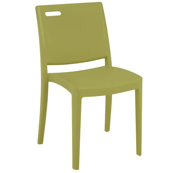 Pack of 4 Grosfillex XA653282 / US653282 Metro Cactus Green Indoor / Outdoor Stacking Resin Chair