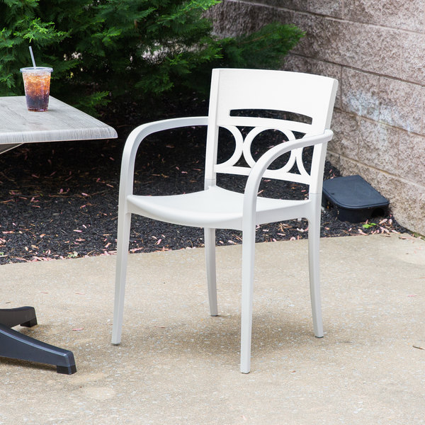 Case of 16 Grosfillex XA651096 / US651096 Moon Glacier White / Linen Indoor / Outdoor Stacking Armchair