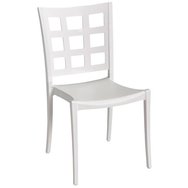 Grosfillex XA648096 / US648096 Plazza Glacier White Indoor / Outdoor Stacking Chair - 16/Case