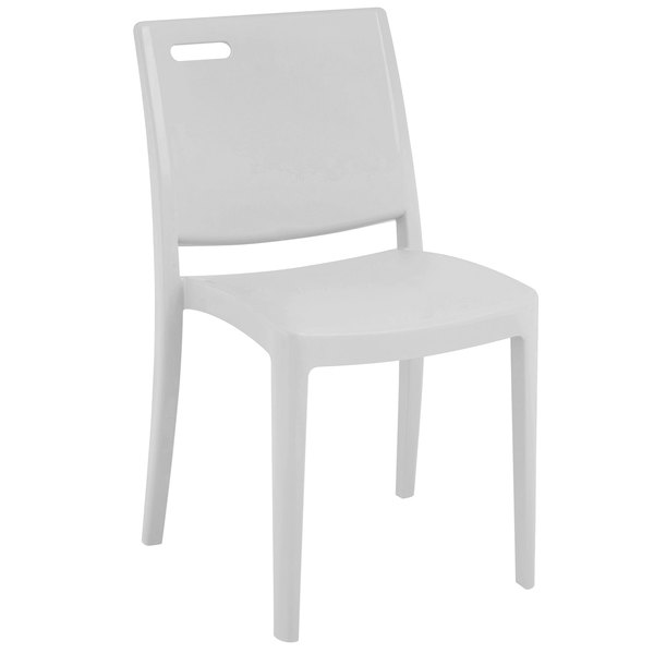 Pack of 4 Grosfillex XA653096 / US653096 Metro Glacier White Indoor / Outdoor Stacking Resin Chair