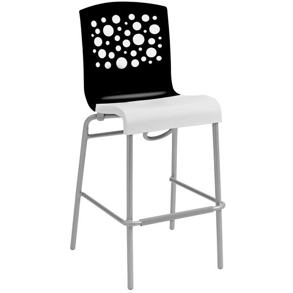 Grosfillex US838017 Tempo Black / White Stacking Resin Barstool - 2/Pack