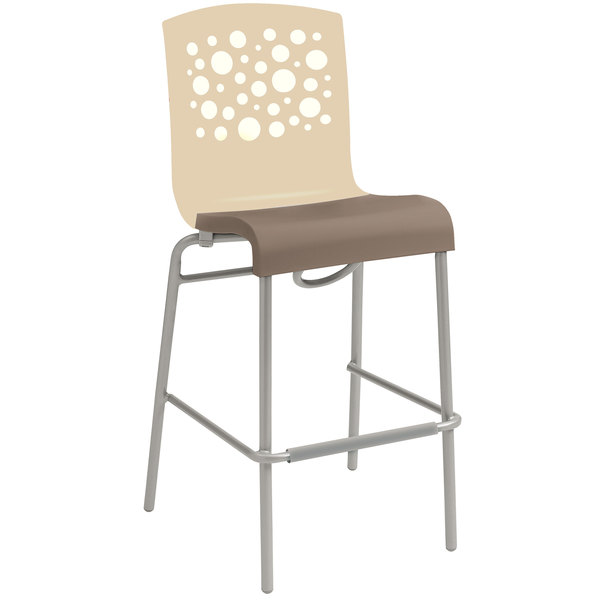 Grosfillex US838413 Tempo Beige / Taupe Stacking Resin Barstool - 2/Pack