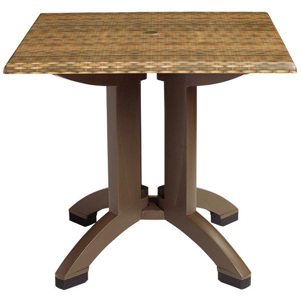 Grosfillex US240218 Sumatra 32'' Wicker Decor Square Pedestal Table with Umbrella Hole