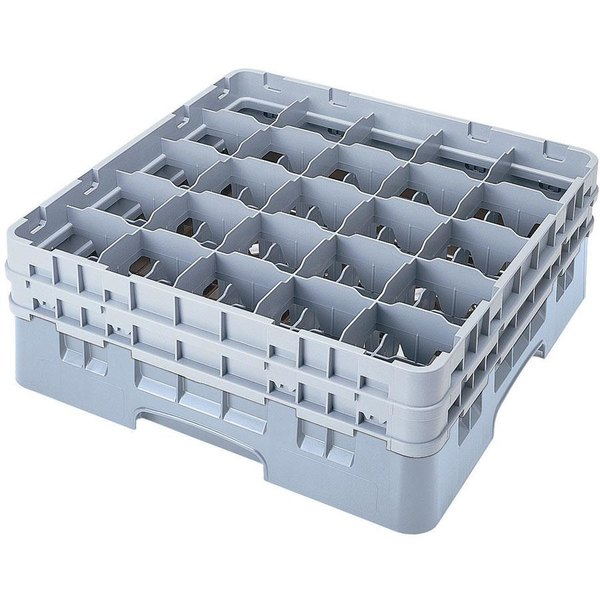 "Cambro 25S958151 Camrack Customizable 10 1/8"" High Customizable Soft Gray 25 Compartment Glass Rack"