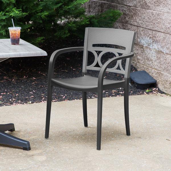 Case of 16 Grosfillex XA652579 / US652579 Moon Titanium Gray / Charcoal Indoor / Outdoor Stacking Armchair