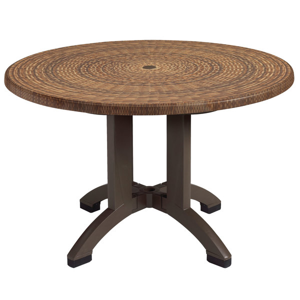 Grosfillex US240618 Sumatra 42u0027u0027 Wicker Decor Round Pedestal Table With  Umbrella Hole