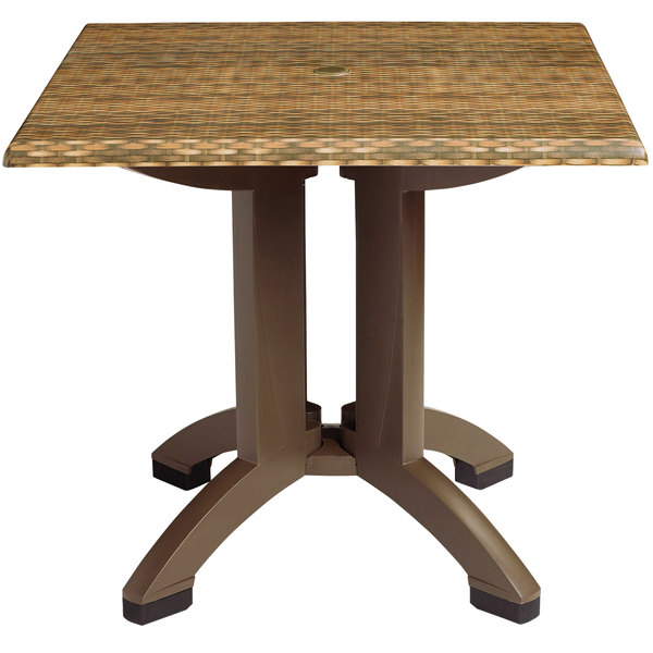 Grosfillex US240418 Sumatra 36'' Wicker Decor Square Pedestal Table with Umbrella Hole Main Image 1
