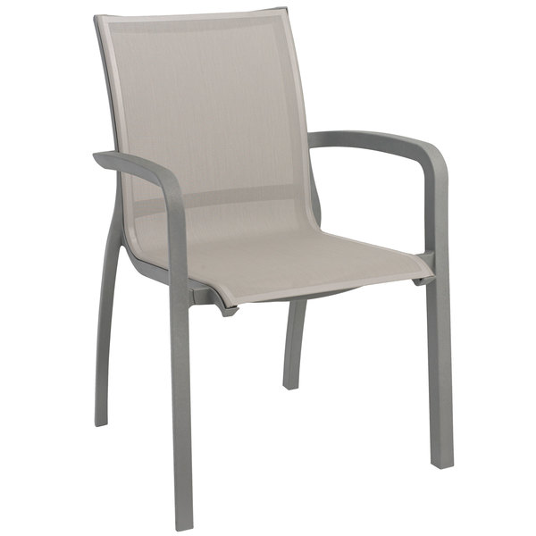 Case of 16 Grosfillex XA644289 / US644289 Monte Carlo Solid Gray / Platinum Gray Outdoor Stacking Armchair