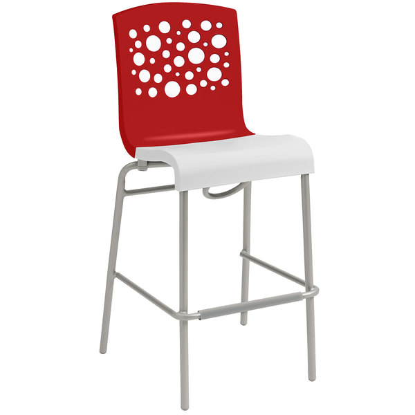 Grosfillex US838414 Tempo Red / White Stacking Resin Barstool - 2/Pack
