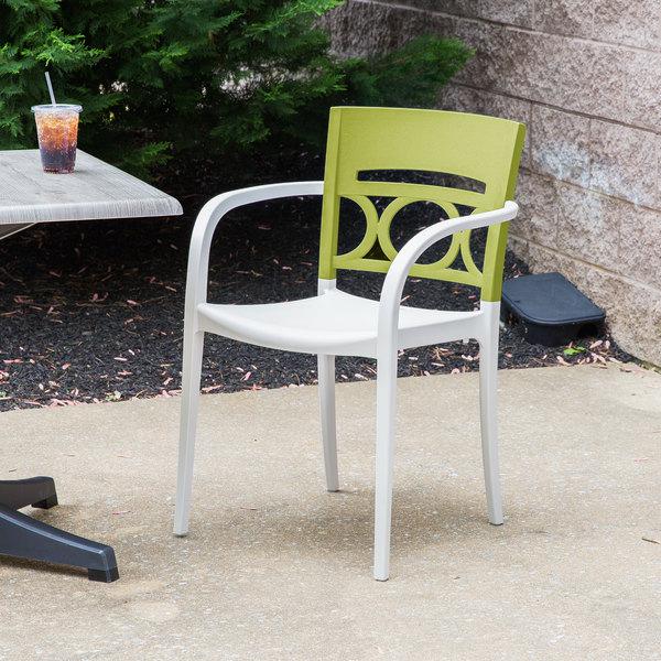 Case of 16 Grosfillex XA651282 / US651282 Moon Cactus Green / Linen Indoor / Outdoor Stacking Armchair