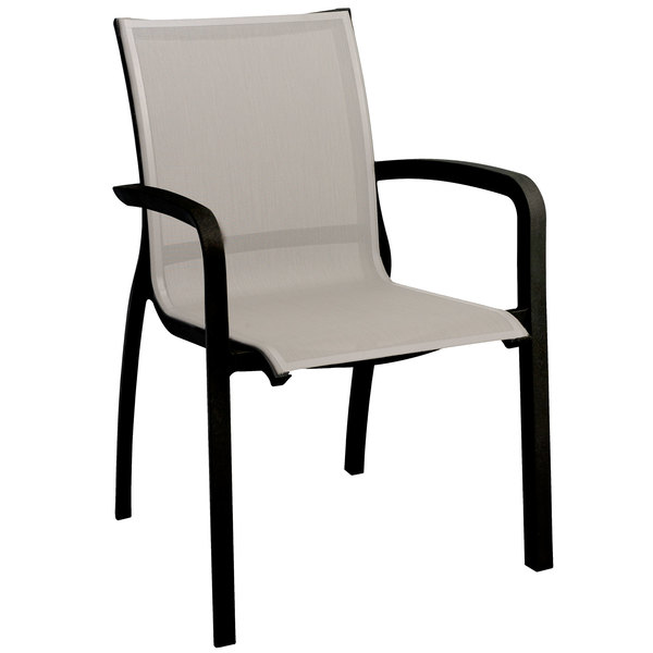Case of 16 Grosfillex XA644288 / US644288 Monte Carlo Solid Gray / Volcanic Black Outdoor Stacking Armchair