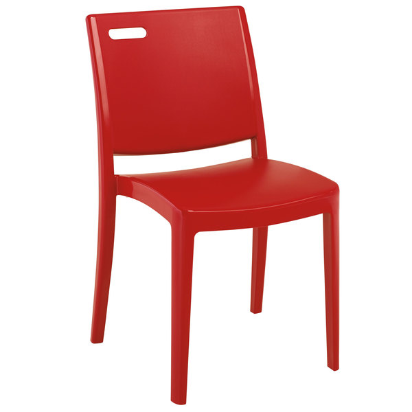 Case of 16 Grosfillex XA653202 / US653202 Metro Apple Red Indoor / Outdoor Stacking Resin Chair