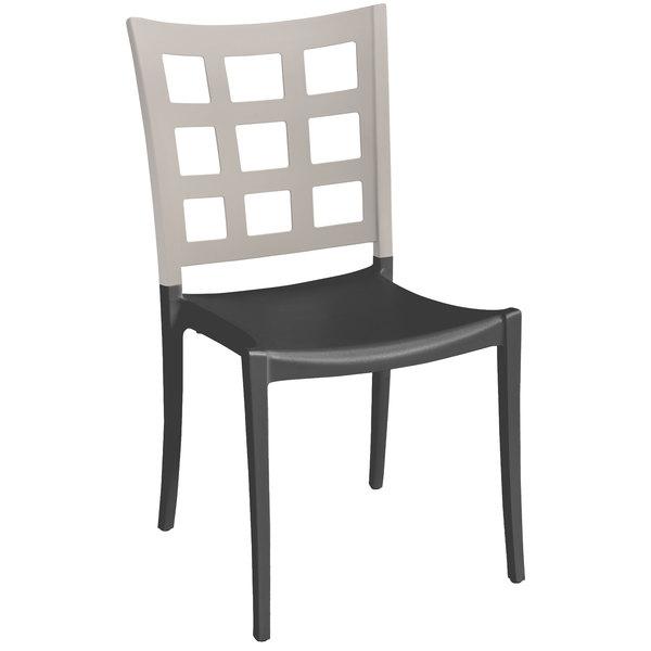 Grosfillex XA646581 / US646581 Plazza Linen / Charcoal Indoor / Outdoor Stacking Chair