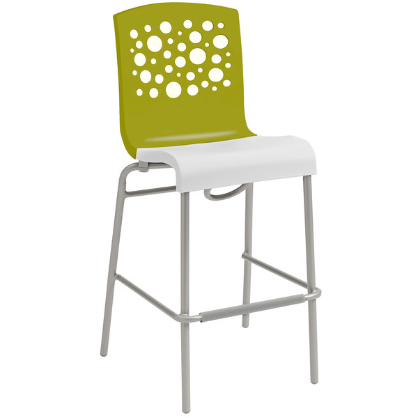 Grosfillex US836152 Tempo Fern Green / White Stacking Resin Barstool - 8/Case