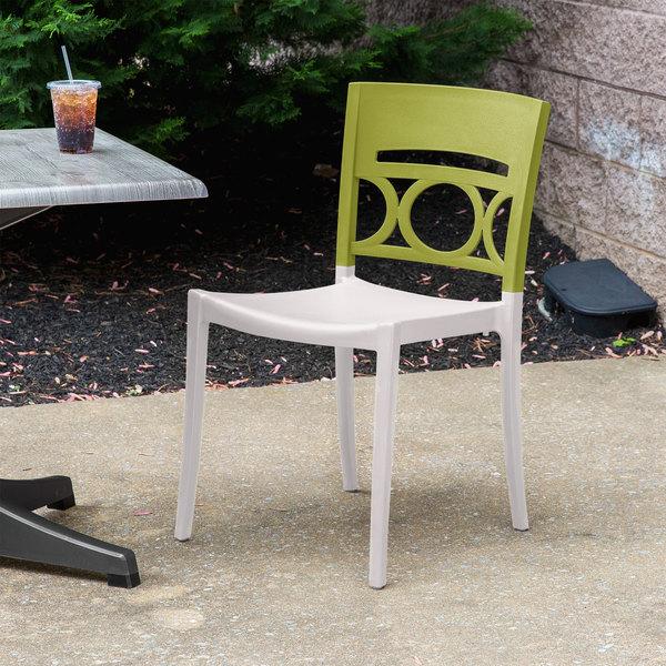 Case of 16 Grosfillex XA649282 / US649282 Moon Cactus Green / Linen Indoor / Outdoor Stacking Chair