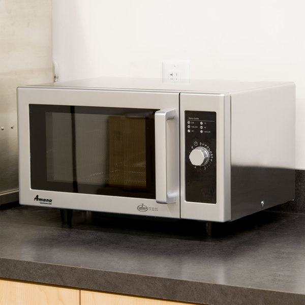 Amana Rms10ds Stainless Steel Commercial Microwave With Dial Controls 120v 1000w