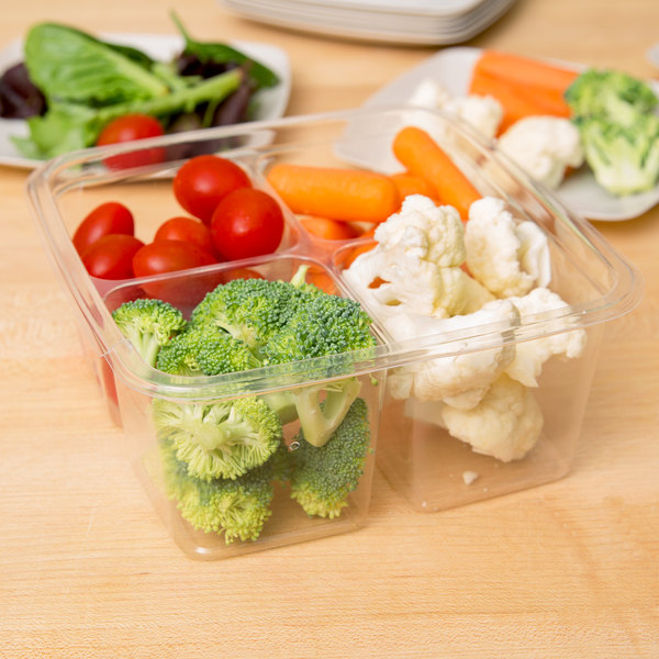 Fabri-Kal GS6-4 Greenware 4-Compartment Clear PLA Plastic Compostable Container - 300/Case Main Image 5