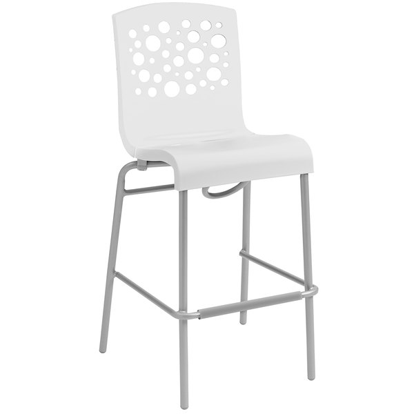 Grosfillex US310004 / US031104 Tempo White Indoor Stacking Resin Barstool