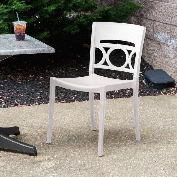 Grosfillex XA649096 / US649096 Moon Glacier White / Linen Indoor / Outdoor  Stacking Chair