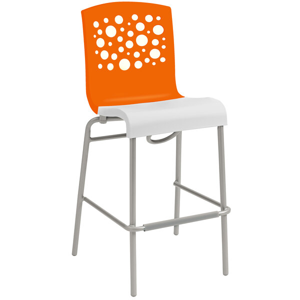 Grosfillex US310019 / US031019 Tempo Orange / White Indoor Stacking Resin Barstool