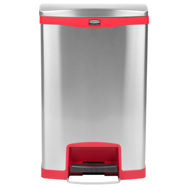 Rubbermaid 1901995 Slim Jim Stainless Steel Red Accent Front Step-On Trash  Can with Single Rigid Plastic Liner - 52 Qt. / 13 Gallon